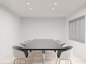 meeting room with chairs , black table